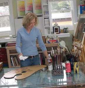 At work in the studio during my short love affair with the hand-held pallette