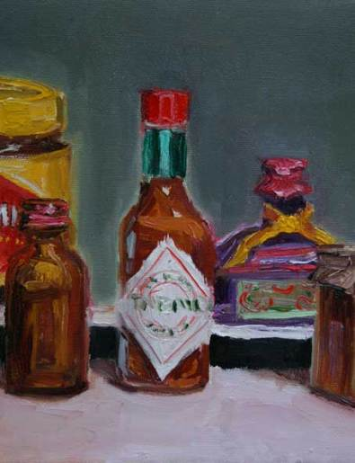 Detail of a recent bottle still life commission
